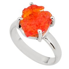 5.22cts natural orange mexican fire opal silver solitaire ring size 7.5 p84409