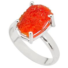 6.03cts natural orange mexican fire opal silver solitaire ring size 8.5 p84417