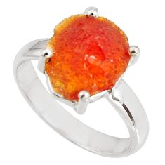 5.22cts natural orange mexican fire opal silver solitaire ring size 7.5 p90156