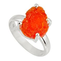 5.45cts natural orange mexican fire opal silver solitaire ring size 7.5 p90179