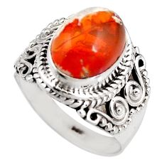 4.38cts natural orange mexican fire opal silver solitaire ring size 6.5 p92138