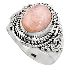 4.40cts natural orange morganite 925 silver solitaire ring size 6.5 p91101
