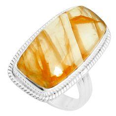 21.67cts natural orange quartz 925 silver solitaire ring jewelry size 8.5 p38861