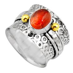 3.08cts natural orange sunstone 925 silver gold solitaire ring size 8.5 p91180