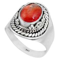 4.38cts natural orange sunstone 925 silver solitaire ring jewelry size 8 p92625