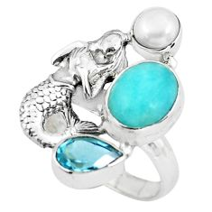 7.55cts natural peruvian amazonite 925 silver fairy mermaid ring size 8 p61097