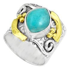 Natural peruvian amazonite 925 silver two tone solitaire ring size 5.5 p61995