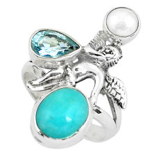 Natural peruvian amazonite silver cupid love angel wings ring size 7.5 p61100