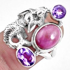 6.20cts natural phosphosiderite 925 silver fairy mermaid ring size 7 p42741