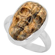 9.04cts natural picture jasper 925 silver skull solitaire ring size 8.5 p88201