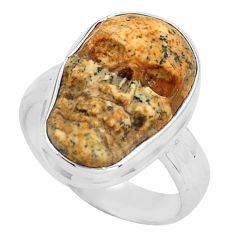 9.47cts natural picture jasper 925 silver skull solitaire ring size 7.5 p88202
