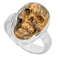 10.24cts natural picture jasper 925 silver skull solitaire ring size 8.5 p88203