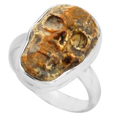 9.54cts natural picture jasper 925 silver skull solitaire ring size 7.5 p88209
