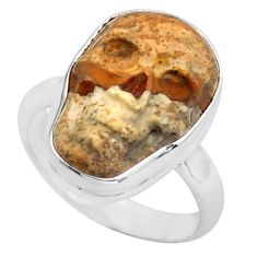 9.25cts natural picture jasper 925 silver skull solitaire ring size 7.5 p88210