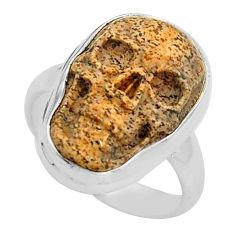 9.25cts natural picture jasper 925 silver skull solitaire ring size 6 p88211