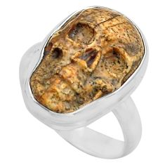 9.14cts natural picture jasper 925 silver skull solitaire ring size 6.5 p88212