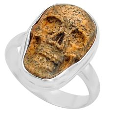 9.29cts natural picture jasper 925 silver skull solitaire ring size 7.5 p88214