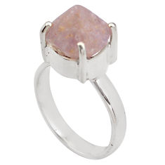 6.36cts natural pink beta quartz 925 silver solitaire ring jewelry size 6 p84421
