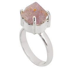 7.40cts natural pink beta quartz 925 silver solitaire ring jewelry size 9 p84422