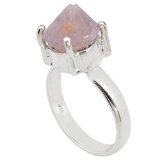 6.53cts natural pink beta quartz 925 silver solitaire ring jewelry size 7 p84428