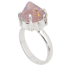 7.40cts natural pink beta quartz 925 silver solitaire ring jewelry size 7 p84429