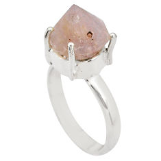 6.36cts natural pink beta quartz 925 silver solitaire ring jewelry size 6 p84436