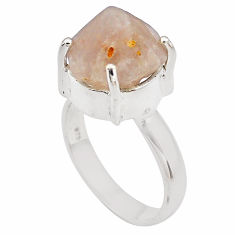 7.63cts natural pink beta quartz 925 silver solitaire ring jewelry size 7 p84440