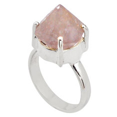 7.83cts natural pink beta quartz 925 silver solitaire ring jewelry size 7 p84445