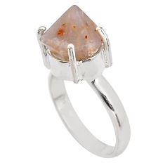 7.40cts natural pink beta quartz 925 silver solitaire ring jewelry size 9 p84447