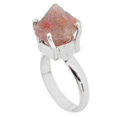 7.40cts natural pink beta quartz 925 silver solitaire ring jewelry size 7 p84450