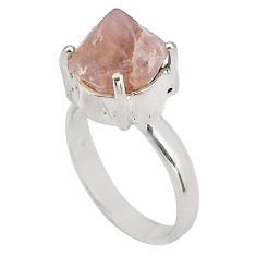 7.14cts natural pink beta quartz 925 silver solitaire ring size 8.5 p84446