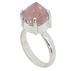7.12cts natural pink beta quartz 925 silver solitaire ring size 7.5 p84460