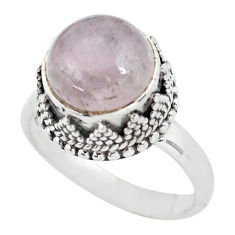 5.63cts natural pink kunzite 925 sterling silver solitaire ring size 7.5 p56545