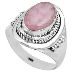 4.71cts natural pink kunzite 925 sterling silver solitaire ring size 8.5 p81261
