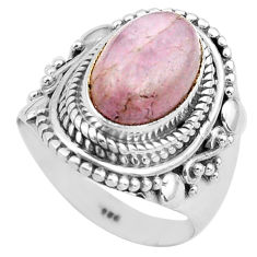 4.21cts natural pink kunzite 925 sterling silver solitaire ring size 7 p81263