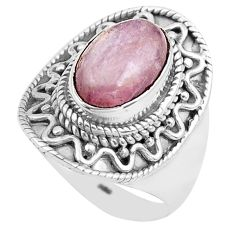 4.38cts natural pink kunzite 925 sterling silver solitaire ring size 8 p81270