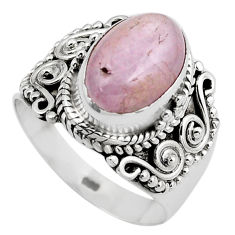 4.71cts natural pink kunzite 925 sterling silver solitaire ring size 7.5 p88841