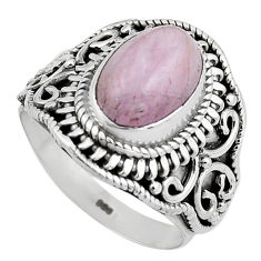 4.82cts natural pink kunzite 925 sterling silver solitaire ring size 8 p88845
