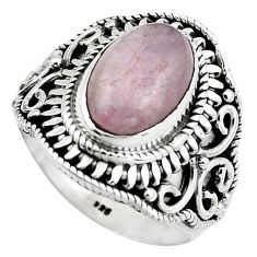 4.63cts natural pink kunzite 925 sterling silver solitaire ring size 7.5 p88846