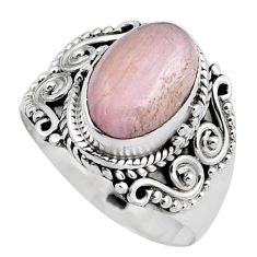 4.55cts natural pink kunzite 925 sterling silver solitaire ring size 8 p88847