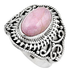 4.82cts natural pink kunzite 925 sterling silver solitaire ring size 8 p88848