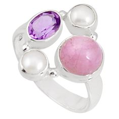 6.30cts natural pink kunzite amethyst pearl 925 silver ring size 8.5 p90766