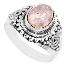 3.01cts natural pink morganite 925 silver solitaire ring jewelry size 6.5 p71661