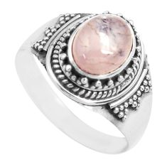3.34cts natural pink morganite 925 silver solitaire ring jewelry size 8.5 p71665