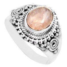 3.19cts natural pink morganite 925 silver solitaire ring jewelry size 8.5 p71666