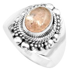 3.28cts natural pink morganite 925 silver solitaire ring jewelry size 8 p71667
