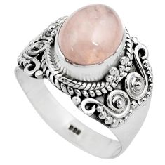 4.38cts natural pink morganite 925 silver solitaire ring jewelry size 7 p81201