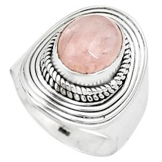 4.02cts natural pink morganite 925 silver solitaire ring jewelry size 7 p81207