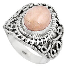 4.55cts natural pink morganite 925 silver solitaire ring jewelry size 6.5 p81210