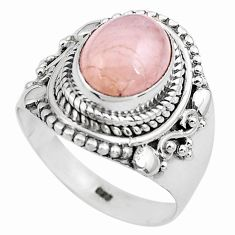 4.38cts natural pink morganite 925 silver solitaire ring jewelry size 7.5 p81213